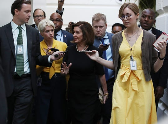 Speaker of the House Nancy Pelosi walks to a meeting with the House Democratic caucus one day after she announced that Democrats will start an impeachment injury of U.S. President Donald Trump, on September 25, 2019 in Washington, DC. Yesterday Pelosi announced a formal impeachment inquiry after allegations that President Donald Trump sought to pressure the president of Ukraine to investigate leading Democratic presidential contender, former Vice President Joe Biden and his son, which was the subject of a reported whistle-blower complaint that the Trump administration has withheld from Congress.