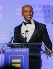 Human Rights Campaign President Alphonso David speaks at the annual St. Louis HRC gala Saturday, Sept. 14, 2019 in St. Louis, Missouri.