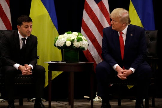 President Donald Trump meets with Ukrainian President Volodymyr Zelenskiy at the InterContinental Barclay New York hotel during the United Nations General Assembly on Sept. 25, 2019, in New York.