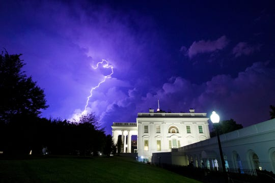 Lightning strikes the White House grounds on Aug. 6, 2019.