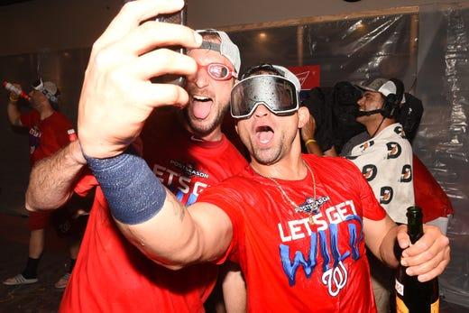 Max Scherzer and Gerardo Parra pose for a selfie.