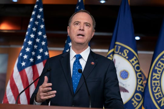 House Intelligence Committee Chairman Adam Schiff, D-Calif., talks Sept. 25, 2019, to reporters in the Capitol about the release by the White House of a transcript of a call between President Donald Trump and Ukrainian President Voldymyr Zelenskiy, in which Trump is said to have pushed for Ukraine to investigate former Vice President Joe Biden and his family.