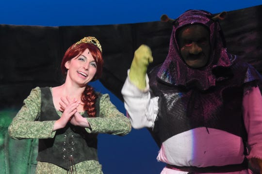 "Taylor Villemarette (left) stars as Fiona and Ross Schexnayder (right) as Shrek in Lagniappe Theatre's ""Shrek the Musical."""