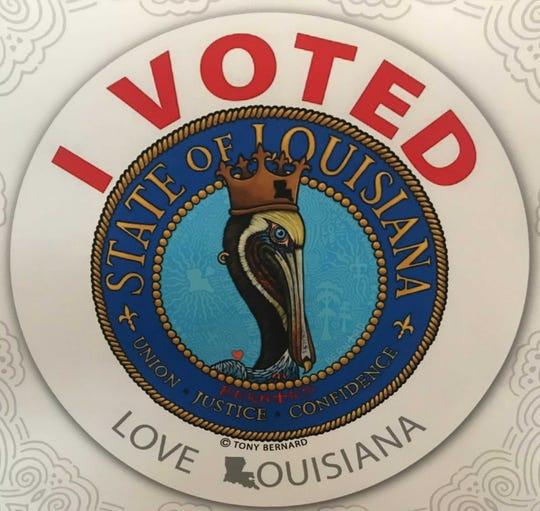 Louisiana's 2019 'I voted' sticker by Tony Bernard