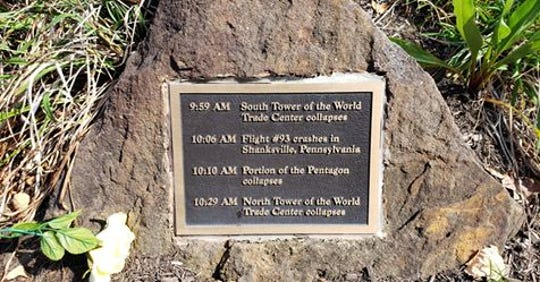 Three bronze plaques, similar to the one in this photo, were stolen from the Monmouth County 9/11 Memorial in Atlantic Highlands.