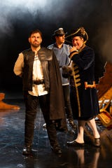 "Jason O'Connell as Cyrano, Luis Quintero as Christian and Chris Thorn as DeGuiche in ""Cyrano"" at Two River Theater."