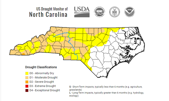 Drought map of North Carolina as of Sept. 24.