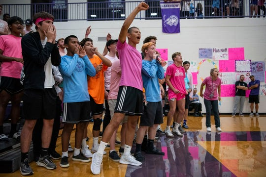 Lakeview students cheer on the varsity volleyball team during the Dig Pink fundraiser for breast cancer research on Wednesday, Sept. 25, 2019 at Lakeview High School in Battle Creek, Mich.