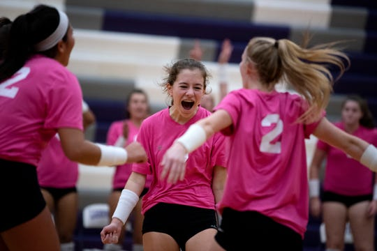Lakeview students celebrate during the Dig Pink fundraiser for breast cancer research on Wednesday, Sept. 25, 2019 at Lakeview High School in Battle Creek, Mich.