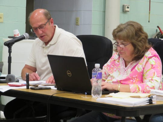 Guilford Town Supervisor George Seneck, left, and Town Clerk Gail Hoffman at a Sept. 25, 2019, public hearing on the renewable energy local law.