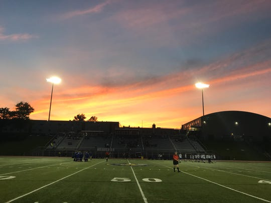 A gorgeous sunset provides a backdrop for Wednesday's Southern Tier Athletic Conference boys soccer game between visiting Horseheads and Maine-Endwell. The teams finished tied at 1 after 100 minutes.