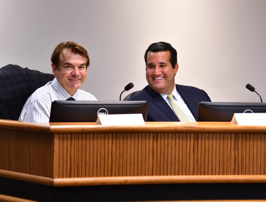 Florida Reps. Thad Altman of Indialantic and Tyler Sirois of Cocoa hear presentations from local government officials and community members at the annual meeting of the Brevard County delegation to the Florida Legislature.
