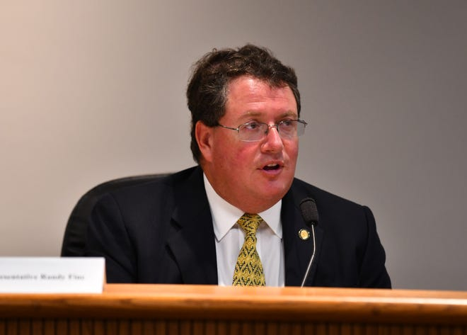 Florida Rep. Randy Fine, R-Palm Bay, participates in a Brevard County Legislative Delegation meeting last September at Port Canaveral.
