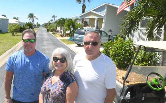 Mike McCusker, Karen Aquino, and Ron Guarnieri. Residents at The Waters, a community of manufactured homes in unincorporated Melbourne Beach, are upset about rent increases on the land they are are leasing their homes on. The property is owned by Arizona-based Cove Communities.