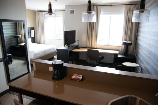 A king bed room at the soon to open Residence Inn Corpus Christi Downtown located at 301 S Shoreline Boulevard.