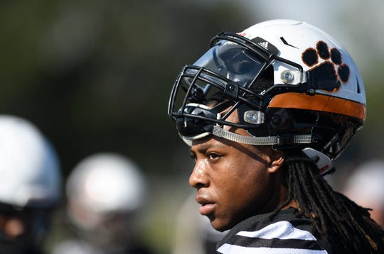 Refugio running back Naaji Gadsden looks on during a practice on Sept. 25, 2019.