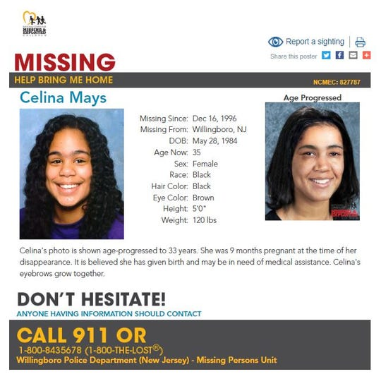 A poster from the National Center for Missing and Exploited Children shows a photo of Celina Mays from around the time she disappeared from Willingboro at age 11, as well as an age-progressed image.