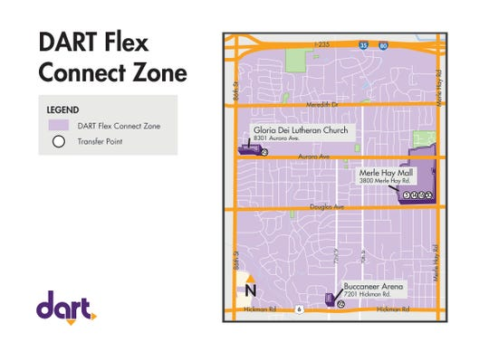 "The above map shows the zone (shaded purple) where passengers can request Uber or taxi rides to get to or from one of three bus stops, also shown in purple.  The new ""Flex Connect"" service begins Oct. 14."