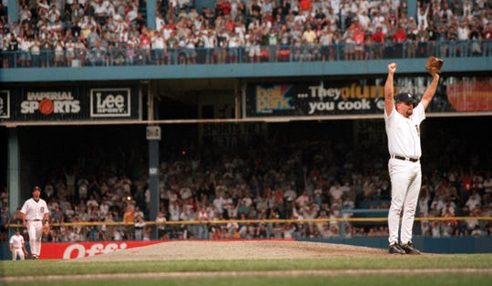 Todd Jones celebrates after making the last out during  the Detroit Tigers' last game at Tiger Stadium on Sept. 27, 1999. ( Julian H. Gonzalez/Detroit Free Press)