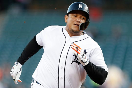 Detroit Tigers designated hitter Miguel Cabrera (24) rounds third base during the first inning against the Minnesota Twins at Comerica Park on Wednesday, Sept. 25, 2019.