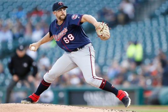 Minnesota Twins starting pitcher Randy Dobnak (68) throws during the first inning against the Detroit Tigers at Comerica Park on Sept. 25, 2019.