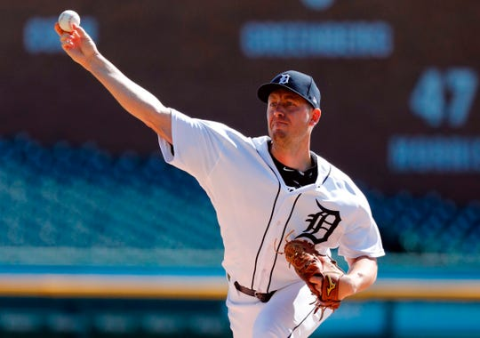 Tigers pitcher Jordan Zimmermann pitches in the first inning on Thursday, Sept. 26, 2019, at Comerica Park.
