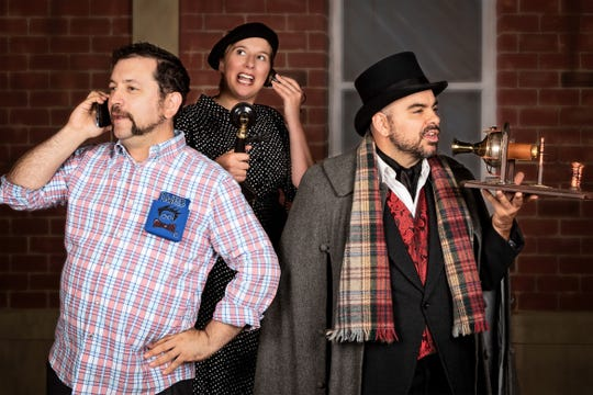 """Joe Zarrow, left, Annabelle Young and Patrick Loos in """"The (Curious Case of the) Watson Intelligence"""" at Open Book Theatre."""