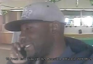 Roseville police are looking for a man who robbed a bank on Gratiot Avenue near Frazho Road at 4:30 p.m. Wednesday.