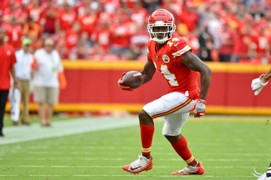 Wide receiver Sammy Watkins leads the Chiefs with 20 catches for 311 yards.