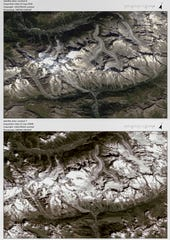 Italian officials sounded an alarm Wednesday, Sept. 25, 2019, over climate change due to the threat that a fast-moving melting glacier, located on the Grande Jorasses peak of the massif, is posing to a picturesque valley near the Alpine town of Courmayeur. The glacier, which spreads 512 square miles across the mountain, has been moving up to nearly 20 inches a day.
