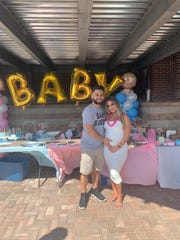 Samar Alsaigh and Adriana Jirjis-Alsaigh at their gender reveal party on Aug. 31, 2019.