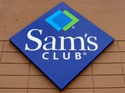 The company logo of Sam's Club on the facade of a store in Concord, N.H.
