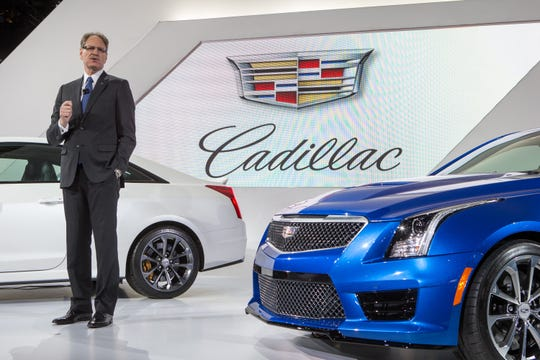 Former Cadillac President Johan de Nysschen unveils the 2016 Cadillac ATS-V Coupe and ATS-V Sedan in this file photo from November 19, 2014 during the Los Angeles Auto Show. De Nysschen will become chief operating officer of Volkswagen's North American region.