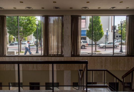 A view of main street from inside the former headquarters of Old National Bank in Evansville, Thursday, Sept. 26, 2019.