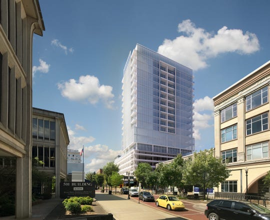 A rendering of the proposed redevelopment at the 18-story tower at 420 Main St. A private company has obtained ownership and plans a major project with restaurant and retail spaces on the ground level, and offices and apartments on upper floors.