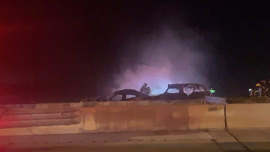 A fiery two-vehicle crash reported shortly after 8:15 p.m. Wednesday shut down Interstate 75 lanes for southbound traffic on the Alico Road overpass. One person went to a hospital with what a witness said were extensive burns.