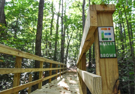 The mile loop trail has labels with the Easley city logo and Nalley Brown Park.