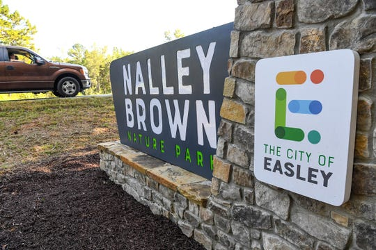 Nalley Brown Nature Park at 380 Adger Road in Easley front entrance marker.
