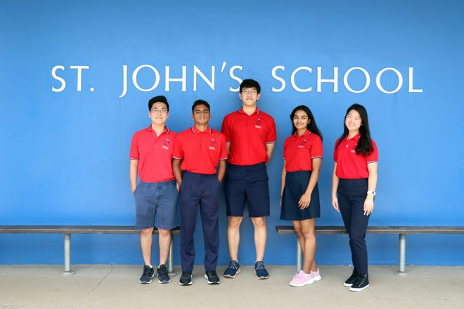 "Five St. John's School seniors have been identified as semifinalists in the 2020 National Merit Scholarship Program. They are among the 16,000 semifinalists that were selected by the officials of the National Merit Scholarship Corporation. Eleven students from Guam were selected as semifinalists, five from St. John's. St. John's would like to congratulate Takeru ""Ted"" Fukami, Haram Kim, Heera Kodiyamplakkal, Marc Rajesh, and Elizabeth Su for achieving this honor. These academically talented high school seniors have an opportunity to continue in the competition for some 7,600 National Merit Scholarships worth more than $31 million that will be offered next spring. Pictured from left: Takeru ""Ted"" Fukami, Marc Rajesh, Haram Kim, Heera Kodiyamplakkal, and Elizabeth Su."