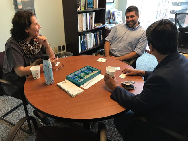 Sens. Telo Taitague and Wil Castro meet in Washington, D.C., with Bradley Watson, executive director for the Coastal States Organization.