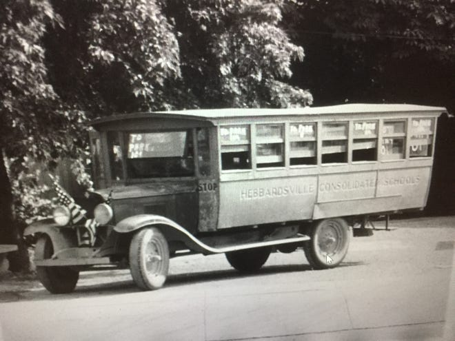 The Henderson County School District's first school bus operated in the 1920-21 school year and they quickly caught on. This one, which dates from the late 1920s or early 1930s, was operated by Hebbardsville Consolidated Schools. The decorations and signs on the windows indicate it was being used for some type of outing. That type of usage was strictly forbidden under the federal government's gas rationing regulations during World War II.
