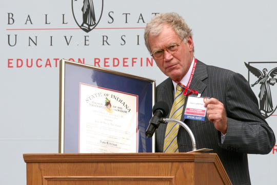 David Letterman asked the crowd if he still needed a name tag after receiving a Sagamore of the Wabash award during a dedication of the David Letterman Communication and Media Building at Ball State University.