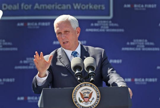 "Vice President Mike Pence speaks during the ""USMCA: A Better Deal for American Workers"" event at MacAllister Machinery, Thursday, Sept. 26, 2019."