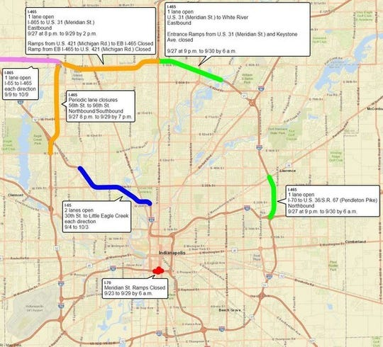 Lane restrictions on Marion County interstates for the weekend of Sept. 27-30.