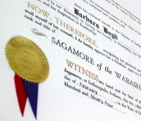 A detail of the prestigious Sagamore of the Wabash, presented to Barbara Boyd by then Indiana governor Evan Bayh in 1994.