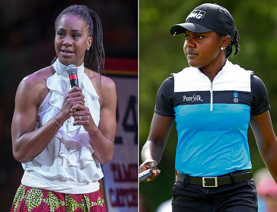 Former Fever star and current VP of basketball ops Tamika Catchings (left) has opened her home to Mariah Stackhouse (right) trailblazing golfer from Georgia for the last three years, sparking a true friendship.