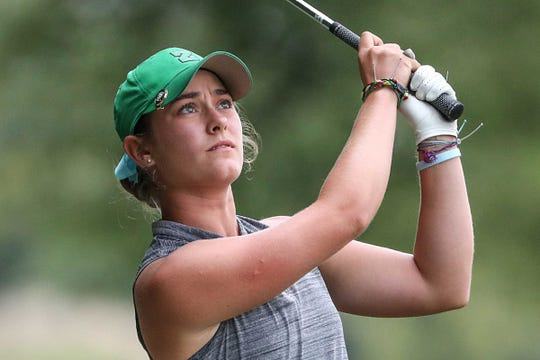 FILE -- Zionsville's Annabelle Pancake, shown playing during the 2018 IHSAA meet, played in the LPGA Tour event at Brickyard Crossing on Sept. 26, 2019.