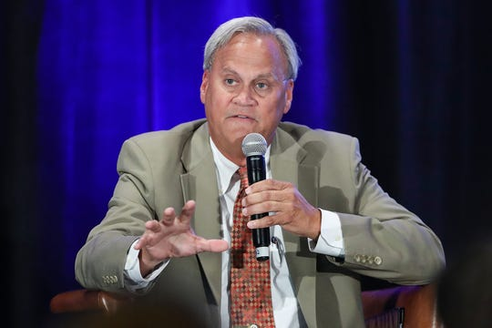 Sen. Jim Merritt, Republican challenger for Indianapolis mayor, participates in a moderated discussion on homelessness at the Indianapolis Marriott, Wednesday, Sept. 25, 2019. Merritt and Joe Hogsett participated in the discussion during the Coalition for Homelessness Intervention and Prevention's annual Celebration fundraiser.