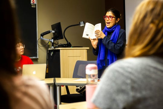 Anahita Ghazvinizadeh, a University of Iowa assistant professor of Cinematic Arts, teaches a class Wednesday, Sept., 25, 2019, at the Adler Journalism Building on the University of Iowa campus in Iowa City, Iowa.