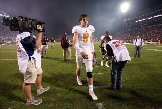 Tennessee quarterback Tyler Bray (8) leaves the field after Mississippi State defeated the Vols 41-31 at Davis Wade Stadium in Starkville, Miss., Saturday, Oct. 13, 2012. (ADAM BRIMER/NEWS SENTINEL)